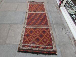 Vintage Kilim Traditional Hand Made Oriental Brown Wool Kilim Runner 208x91cm