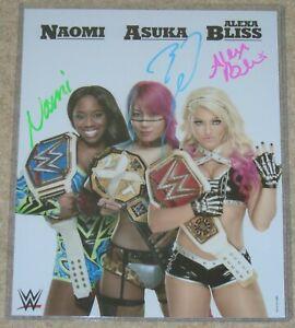 WWE SIGNED PROMO PHOTO NAOMI ASUKA & ALEXA BLISS WITH BELTS COA PROOF PICS