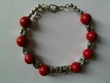 "Tibetan Tibet Silver 10MM red coral beas handmade  Bracelet 7.5"""