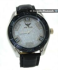 mens big black diamond business clubbing watch silver dial leather king