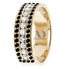 3 Rows Black & Clear Diamond Wedding Band Half Eternity Unique Wedding Ring 14K