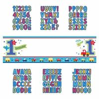 1st Birthday Party Baby Boy All Aboard Blue Giant Banner Sign Personalised