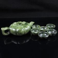 Chinese natural Green Jade Dragon Carved teapot teacup Tea Set