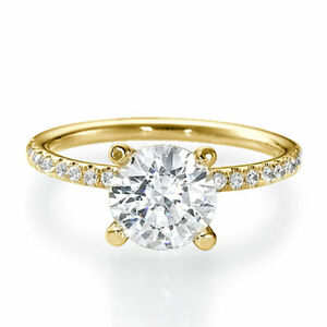 0.90 CT Classic Round Cut Diamond Engagement Ring 14K Yellow Gold D/SI1