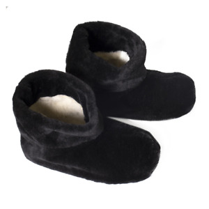 AUTHENTIC BLACK MEN'S SHEEPSKIN SHEEP WOOL VELOR PLUSH LOW SLIPPERS ANKLE BOOTS