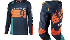 Brand New 28W/Small Scott 450 Podium Blue/Orange Adult Motocross MX Kit Combo