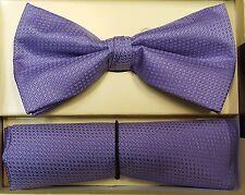 "Pre Tied Bow Tie Set. Purple Bowtie & Pocket Square Combo. 2.5"" Wide"