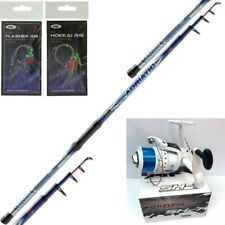 12FT TELESCOPIC LINEAFFE SEA FISHING ROD + SHZ 7000 REEL + 2 X Mackerel Feathers