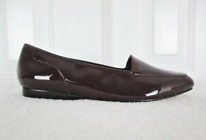Enzo Angiolini Size 7.5 M Maroon Liberty Patent Leather Slip On Loafer Flats