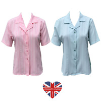 LADIES VINTAGE STRIPE BLOUSE SHIRT OLDER LADIES BUTTON MADE IN UK SIZES 10-24