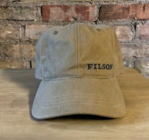 VTG C.C. Filson Strapback Adjustable Tan Canvas Baseball Cap Hat - Made in USA