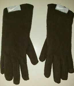 girls NIKE winter GLOVES solid dark brown size 8 to 20 orange fleece lined WARM