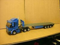 LEGO CITY CUSTOM BLUE 6 WHEELER TRUCK WITH TRI-AXL FLATBED TRAILER L@@K