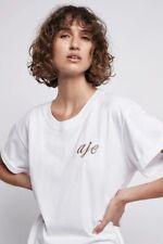 Aje Womens Briar Rolled cuffs Tee Shirt Short Sleeve Logo T-shirt Crew Top XXS-S