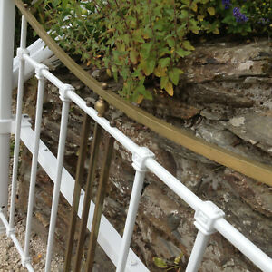 Vintage Art Deco White Wrought Iron Brass Double Bed Canopy