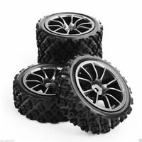 4Pcs 12mm Hex Rubber Rally Tires and Wheel Rims For HSP HPI RC 1:10 Off Road Car