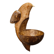 Vie Naturals Bird Feeder, Coconut Shell With Bird Carving Approx 30 cm Hanging h