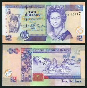 Belize 2$ 1999.01.01. Queen Elizabeth II & Maya Ruins Heritage P60a UNC