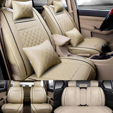 US 5-Seat SUV Car Auto Seat Covers Beige Front+ Rear+4 Free Pillows  PU Leather
