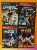 Playstation 2 PS2 Game Lot Star Wars Battlefront 1 2 + Lego Star Wars 1 2 II
