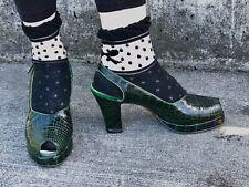 Vintage 1940's Green Alligator Peeptoe Platform Slingback Shoes 7-1/2aaa As Is