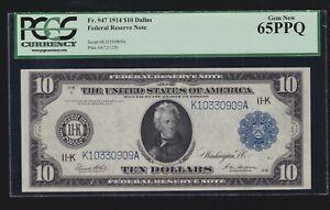 US 1914 $10 FRN Dallas FR 947 PCGS 65 PPQ Ch CU (909)
