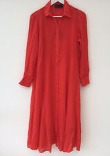 Marks & Spencer Sz 12 Petite Red Shirt Dress Long Sleeve Button Front With Cami