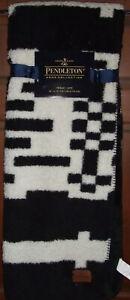 Pendleton Black & White Throw Blanket Aztec 50 x 70 NWT Geometric Sherpa Fleece