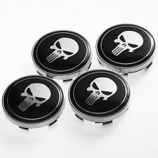 Black 60mm The Punisher Skull Car Wheel Center Hub Caps Rim Cover Badge Decals