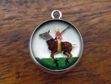 Vintage silver POLO PLAYER HORSE REVERSE INTAGLIO CRYSTAL ESSEX GLASS charm #M