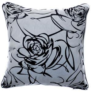 UF31a Black Rose on Gray Velvet Style Cushion Cover/Pillow Case *Custom Size*