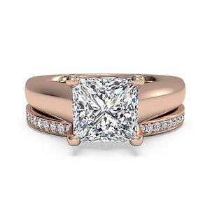 2.25 Ct Diamond 14K Rose Gold Bridal Wedding Engagement Ring Band Set Size 6 7 8