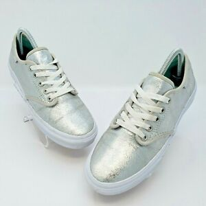 Vans Womens Camden Metallic Silver White Retro Style Sneakers Shoes Size 8.5