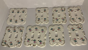 Vintage Ceramic Porcelain Light Switch Plate Covers Hand Painted, Lot of 8