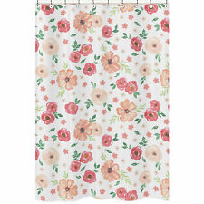 Green and Peach Watercolor Floral Sweet Jojo Bathroom Fabric Bath Shower Curtain