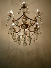 Vintage 6 Arm Brass and Crystal Old Chandelier