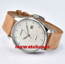 43mm parnis white dial date window seagull automatic mens watch P522