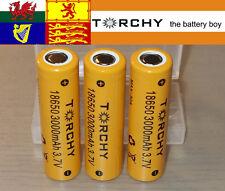 3x 30A Torchy (Samsung 30Q) 3000mAh Flat Top 18650 3.7v Li-ion batteries + case
