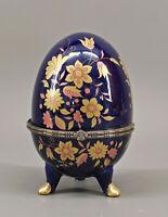 9973935 kobaltblaue Porzellan Ei Dose blau gold  Blumen H15,5cm