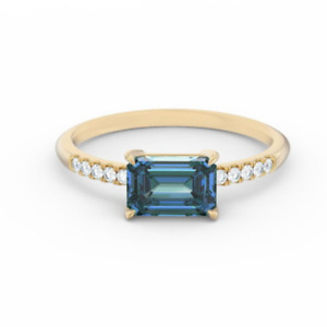1.75tcw Emerald Cut Teal Sapphire Diamond Engagement Ring 14K Yellow Gold Plated