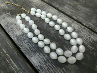 """Vtg LISNER Dual Strand Lucite Moonglow Bead Choker Necklace Pearly White 15-17"""""""