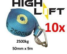 NEW 10xPACK OF 50MM x 9M 2500KG AS4380 TIE DOWN RATCHET STRAP ONLY  - METRO