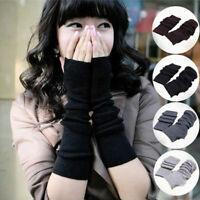 Fashion Women's Girls Winter Soft Arm Warmer Long Fingerless Gloves Mittens E6K5