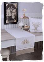 Tischläufer Shabby Chic Decke Tischdecke Monogramm Tischband Tischdeko Vintage