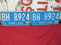 Vintage Maryland License Plates Pair Set Tags 1971 Car Truck MD 1970's #2