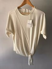 Country Road CR Love Sz S M L XL Rib Tie Front Top in Cream 10 12 14 16 XL