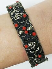 Vintage Silver Tone Japanned Coral Red Glass Hinged Bangle Bracelet Rose Motif