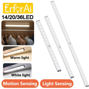 10/36 LED Motion Sensor Closet Cabinet Night Stairs Step Light USB Rechargeable