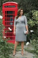 Kiyonna Women's Dress 2X Silver Gray Lace Lumiere Style Metallic Party Made USA