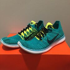 Mens NIKE 9 Free RN Flyknit Green Yellow Black Athletic Shoes